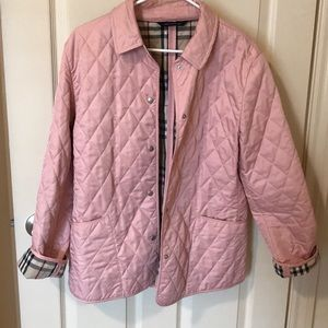 Pink Burberry quilted coat